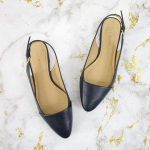 Talbots Navy Blue Leather Slingback Pointed Flats